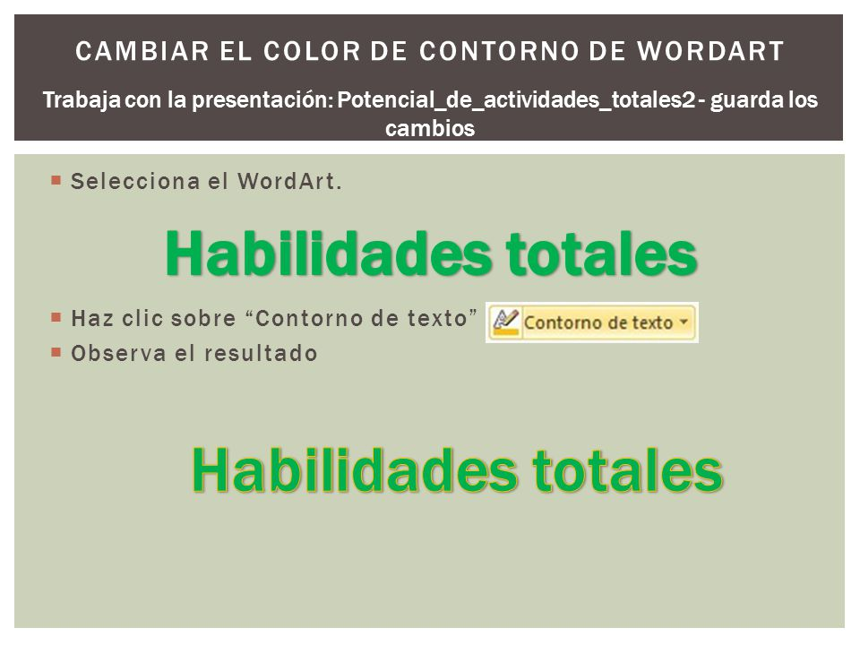 Cambiar el color de contorno de WordArt
