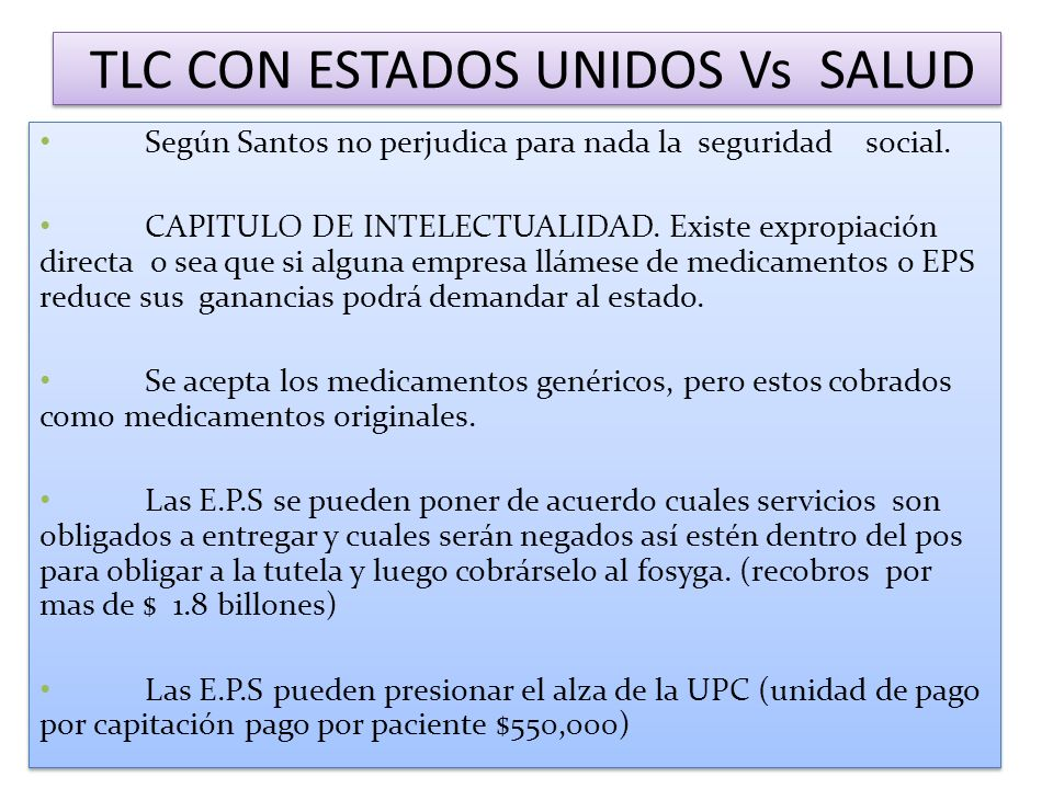 TLC CON ESTADOS UNIDOS Vs SALUD