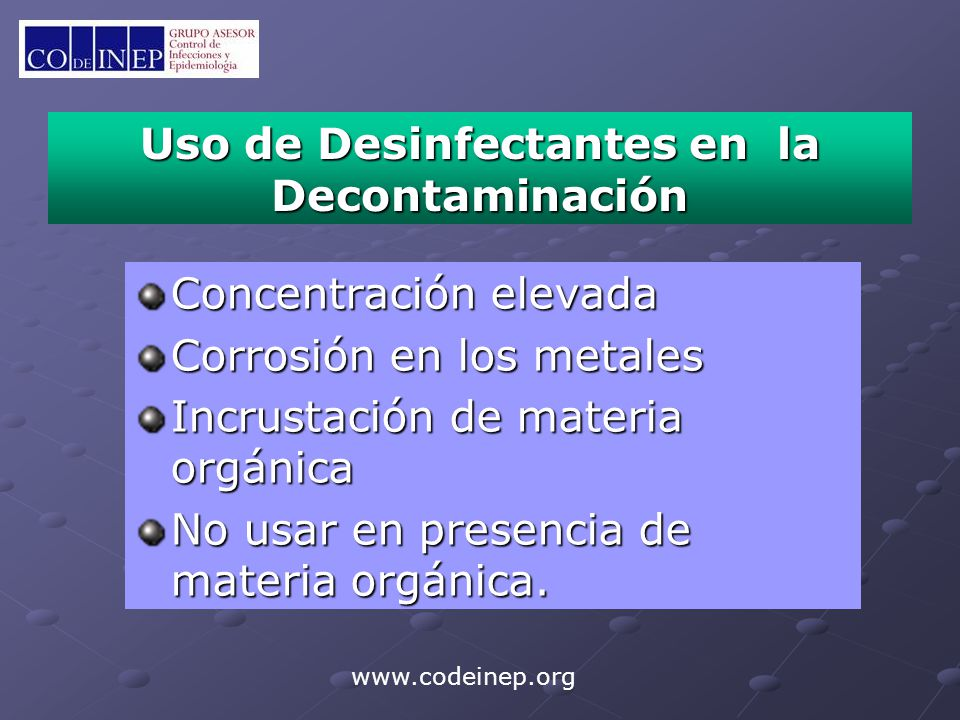 Uso de Desinfectantes en la Decontaminación
