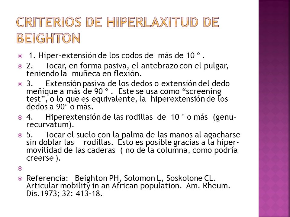 CRITERIOS DE HIPERLAXITUD DE BEIGHTON