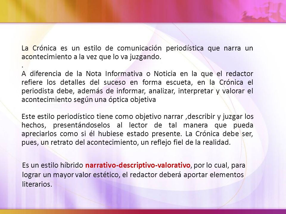 La Crónica Periodística Ppt Descargar