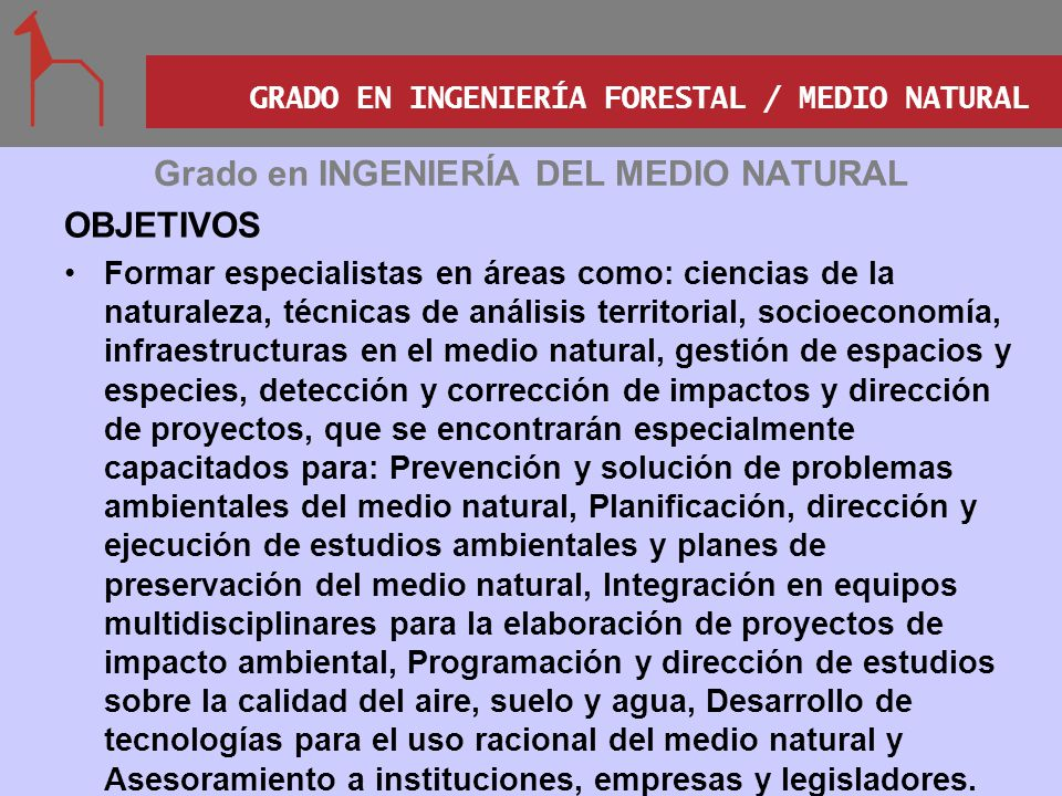 Grado en INGENIERÍA DEL MEDIO NATURAL
