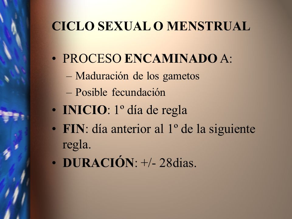 CICLO SEXUAL O MENSTRUAL