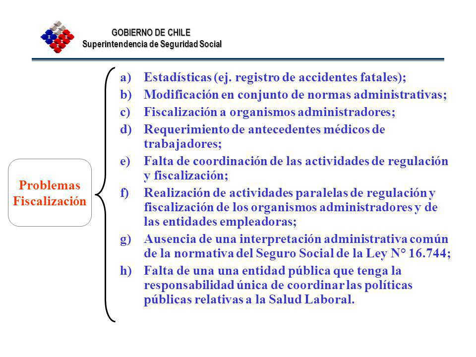 Estadísticas (ej. registro de accidentes fatales);