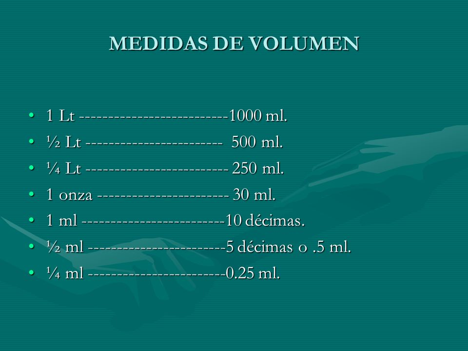 MEDIDAS DE VOLUMEN 1 Lt ml.