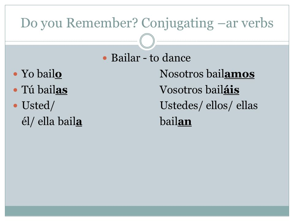 Do you Remember Conjugating –ar verbs