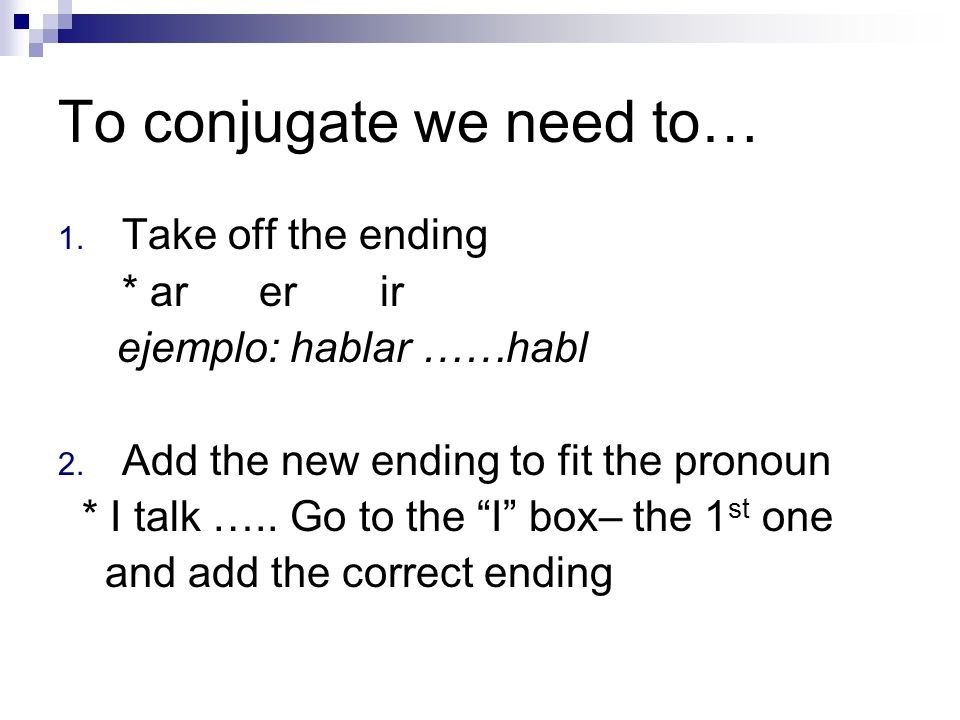 To conjugate we need to…