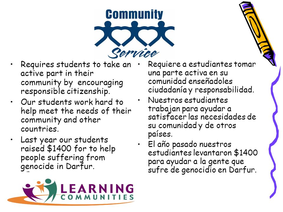 Requires students to take an active part in their community by encouraging responsible citizenship.