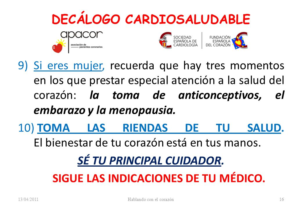 DECÁLOGO CARDIOSALUDABLE