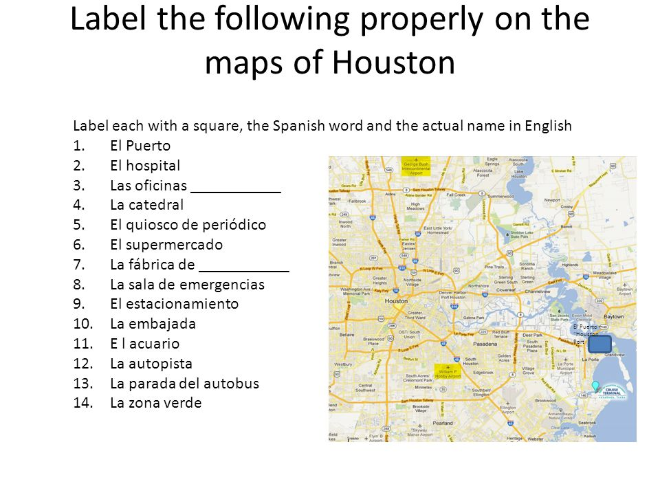 Label the following properly on the maps of Houston