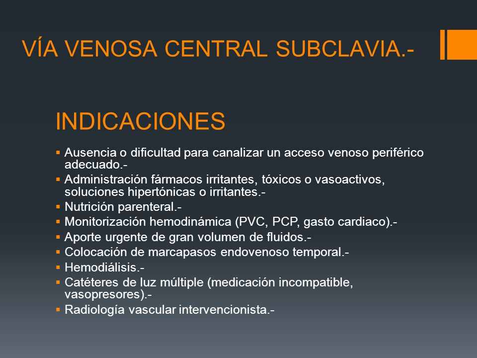 Via Venosa Central Subclavia.- - ppt video online descargar