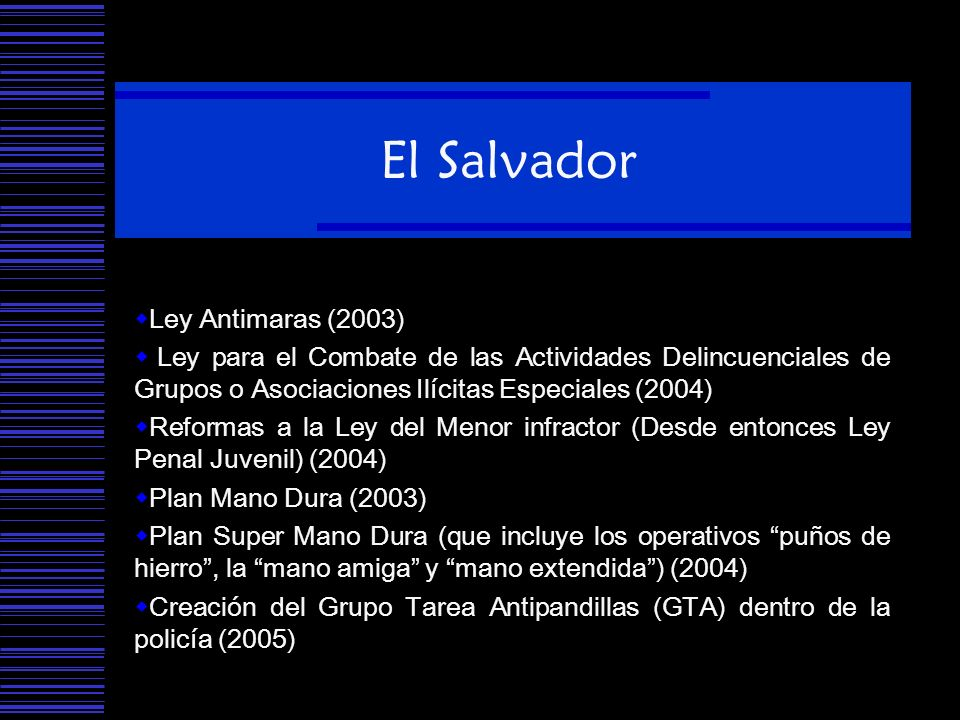 El Salvador Ley Antimaras (2003)