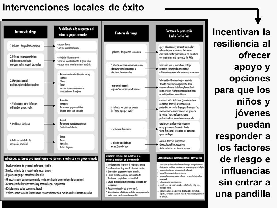 Local level interventions: Responding to risk factors and influences