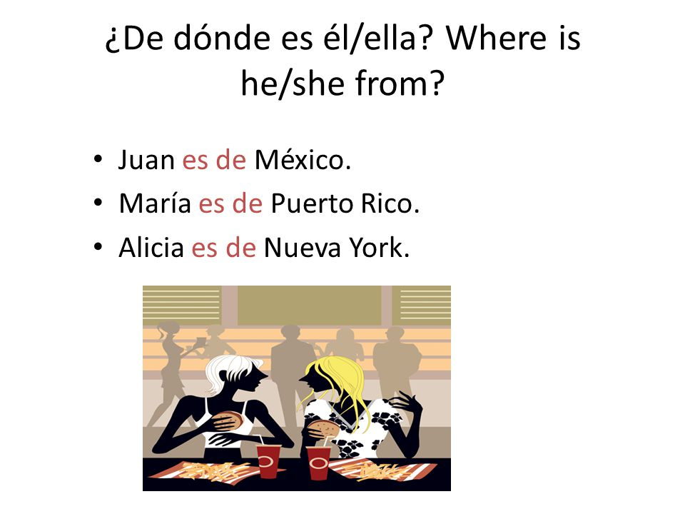 ¿De dónde es él/ella Where is he/she from