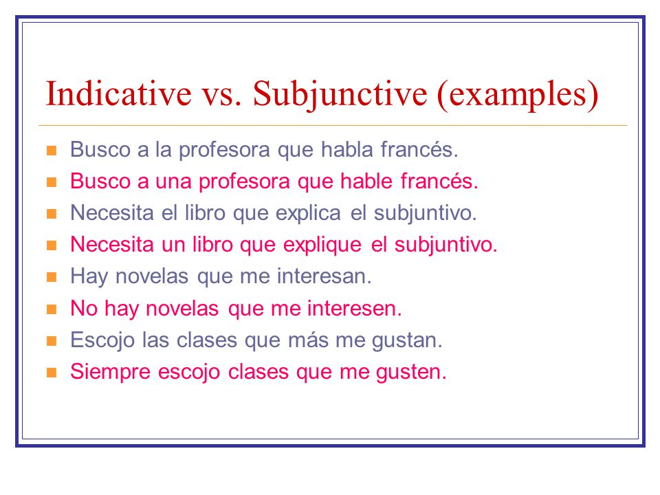 Indicative vs. Subjunctive (examples)