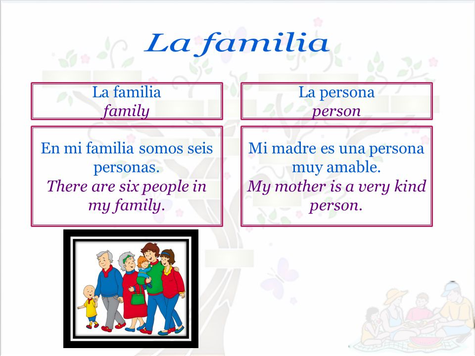La familia La familia family La persona person