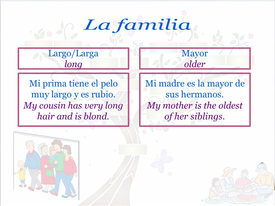 La familia Largo/Larga long Mayor older