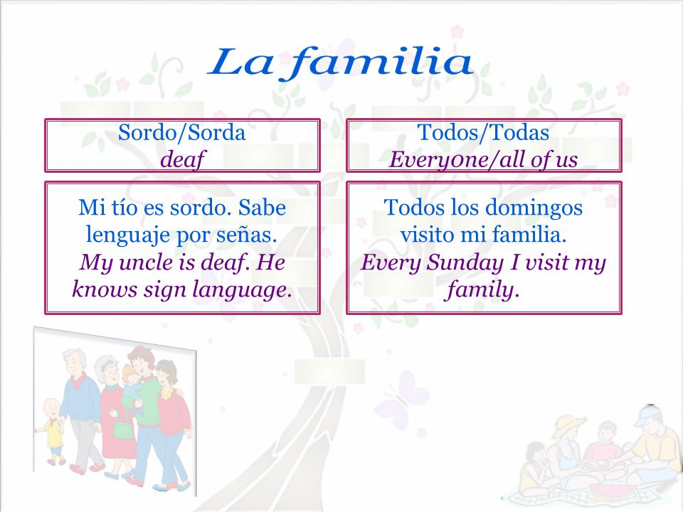 La familia Sordo/Sorda deaf Todos/Todas Every0ne/all of us