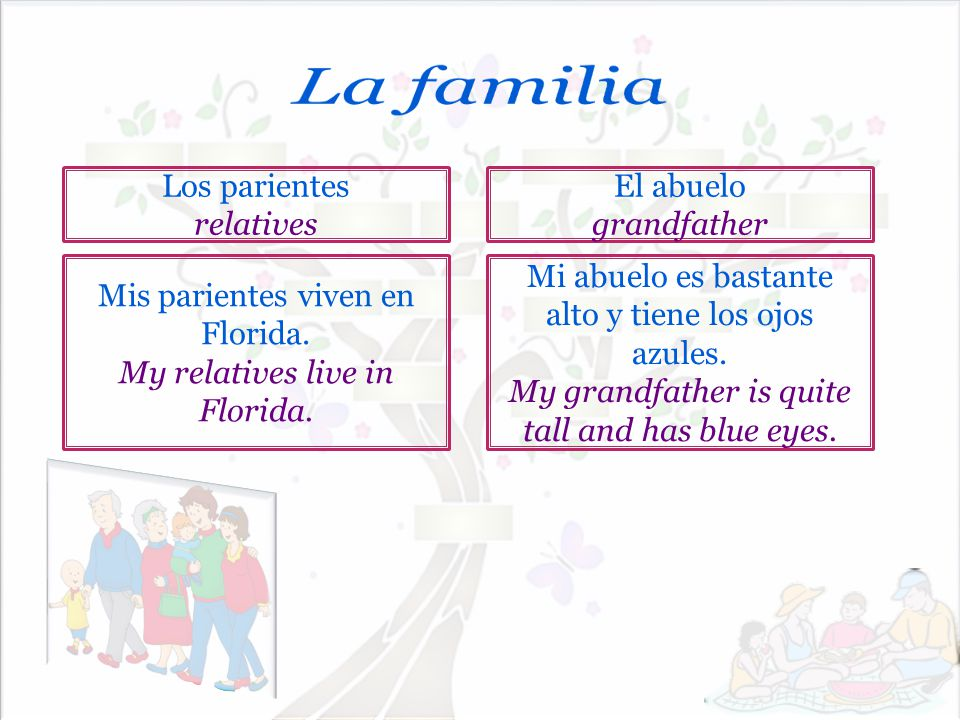 La familia Los parientes relatives El abuelo grandfather