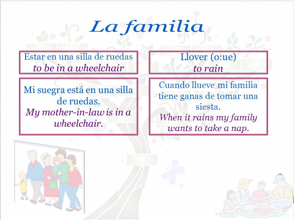 La familia Llover (o:ue) to be in a wheelchair to rain
