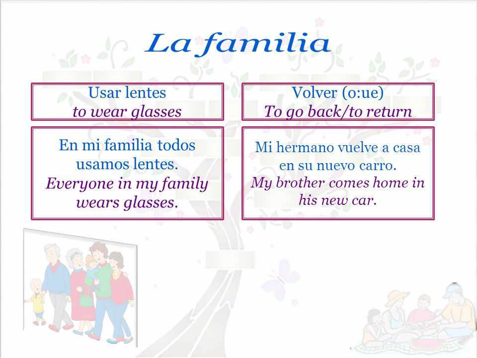 La familia Usar lentes to wear glasses Volver (o:ue)