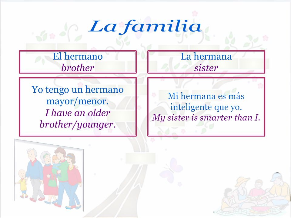 La familia El hermano brother La hermana sister