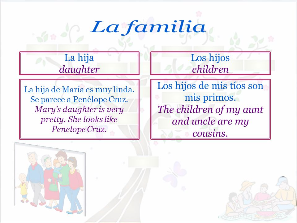 La familia La hija daughter Los hijos children