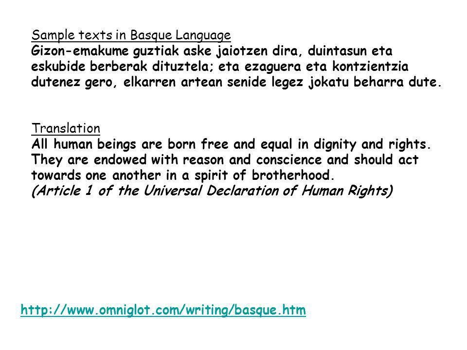 Sample texts in Basque Language