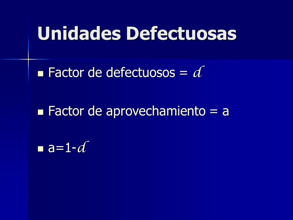 Unidades Defectuosas Factor de defectuosos = d