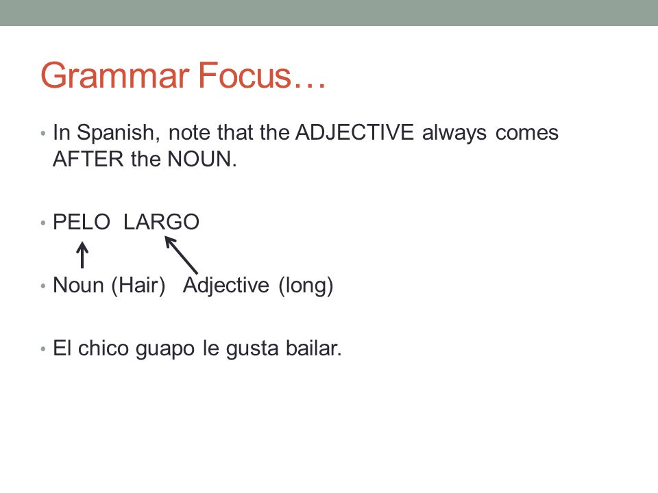 Grammar Focus… In Spanish, note that the ADJECTIVE always comes AFTER the NOUN. PELO LARGO. Noun (Hair) Adjective (long)