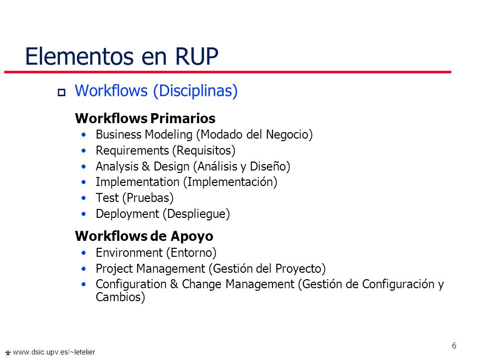 Elementos en RUP Workflows (Disciplinas) Workflows Primarios