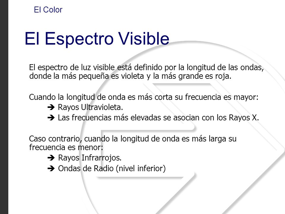 El Espectro Visible El Color
