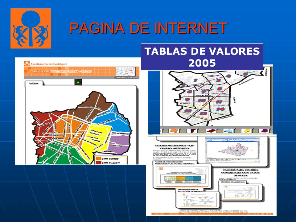 PAGINA DE INTERNET TABLAS DE VALORES 2005