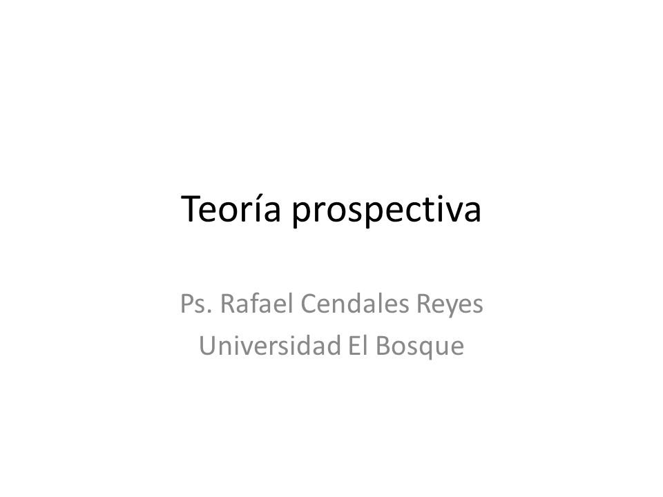 Ps. Rafael Cendales Reyes Universidad El Bosque
