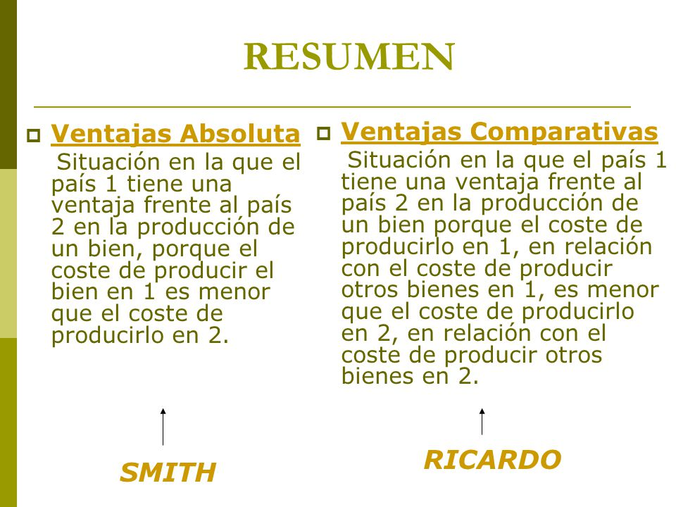 RESUMEN RICARDO SMITH Ventajas Absoluta Ventajas Comparativas