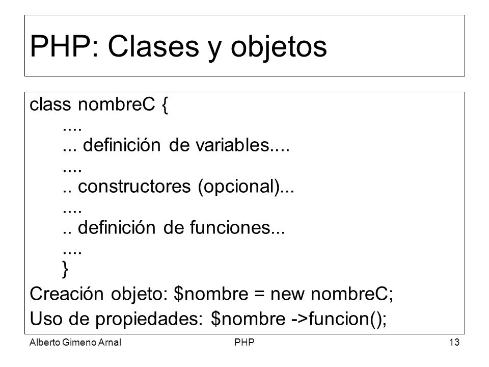 PHP: Clases y objetos