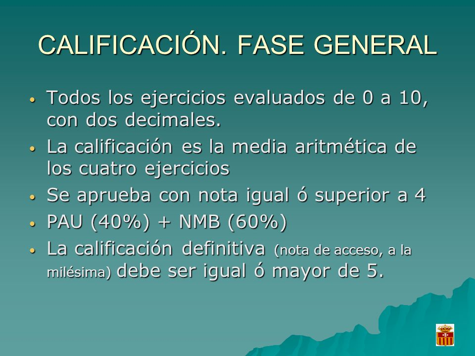CALIFICACIÓN. FASE GENERAL