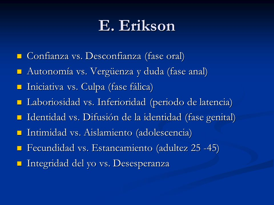 E. Erikson Confianza vs. Desconfianza (fase oral)