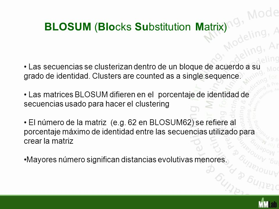 BLOSUM (Blocks Substitution Matrix)