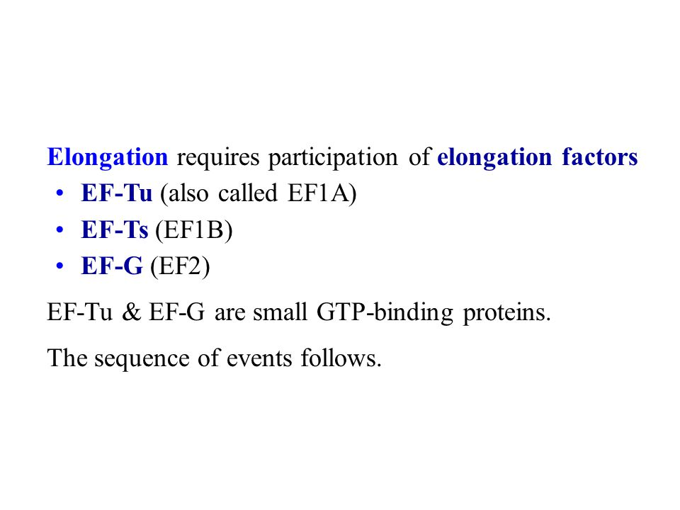 Elongation requires participation of elongation factors