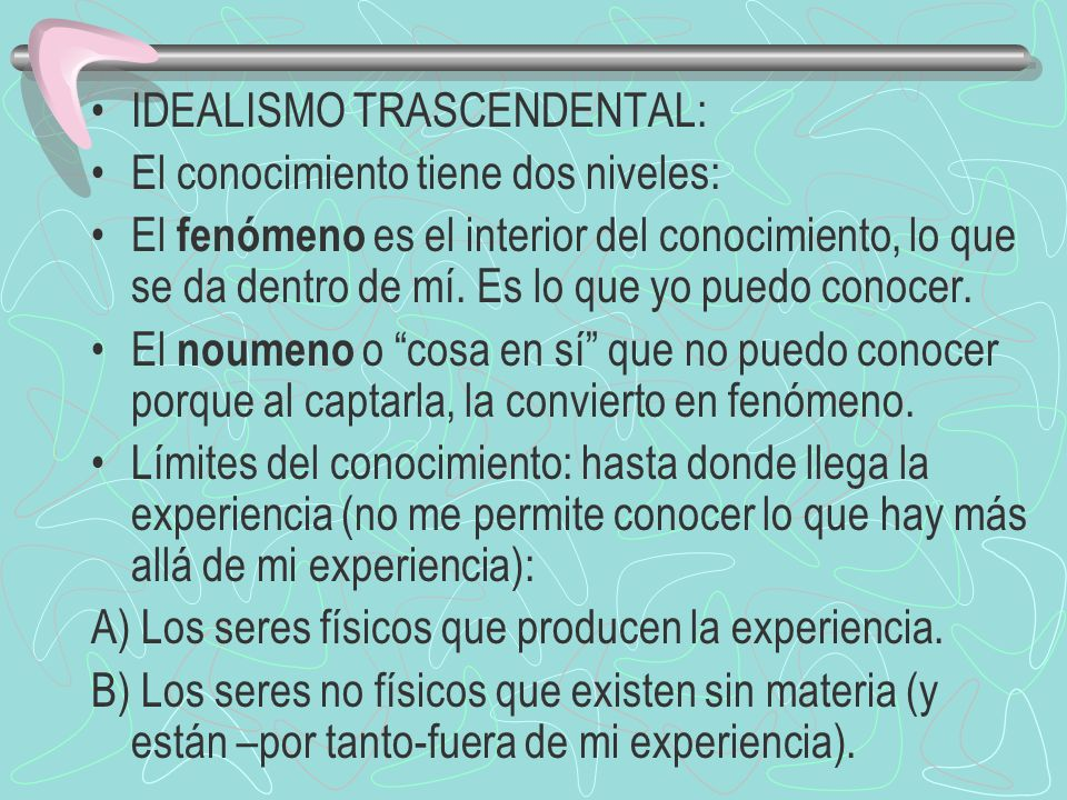 IDEALISMO TRASCENDENTAL: