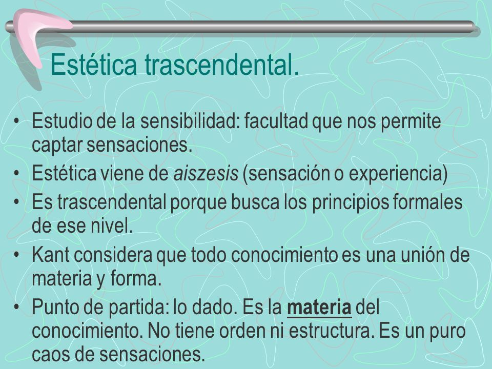 Estética trascendental.