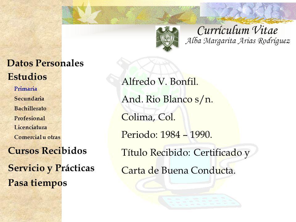 Currículum Vitae Datos Personales Estudios Cursos Recibidos - ppt ...
