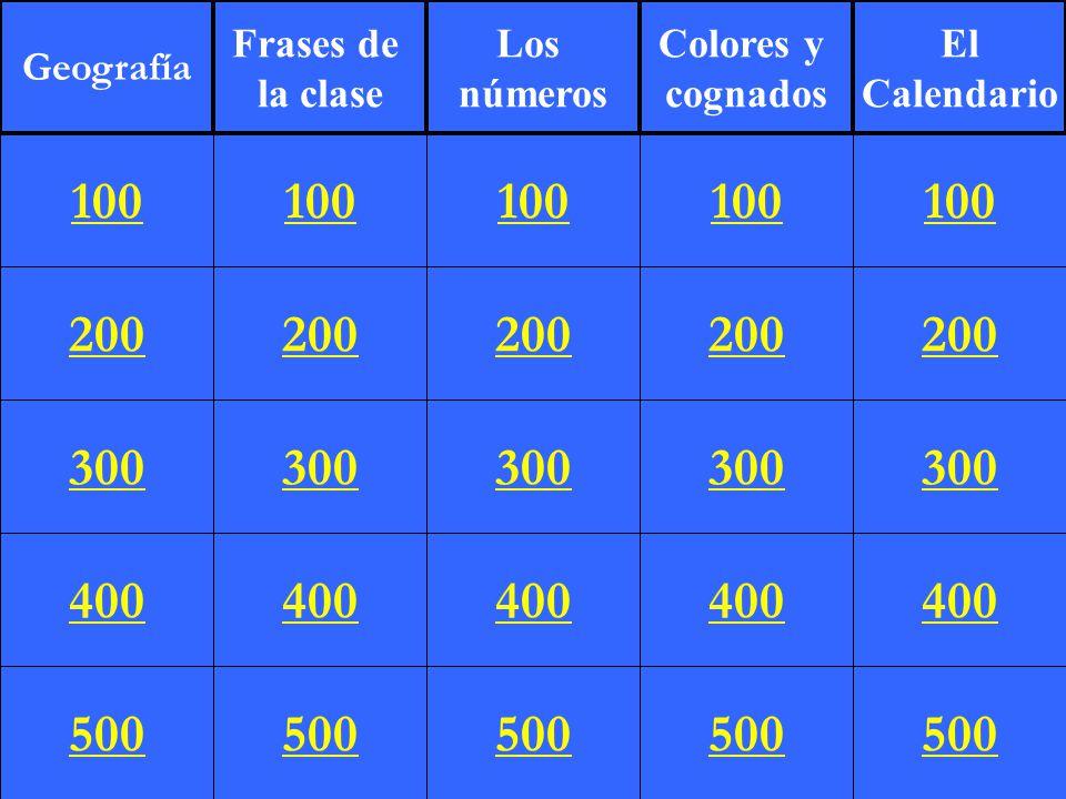 Geografía Frases De La Clase Los Números Colores Y Cognados
