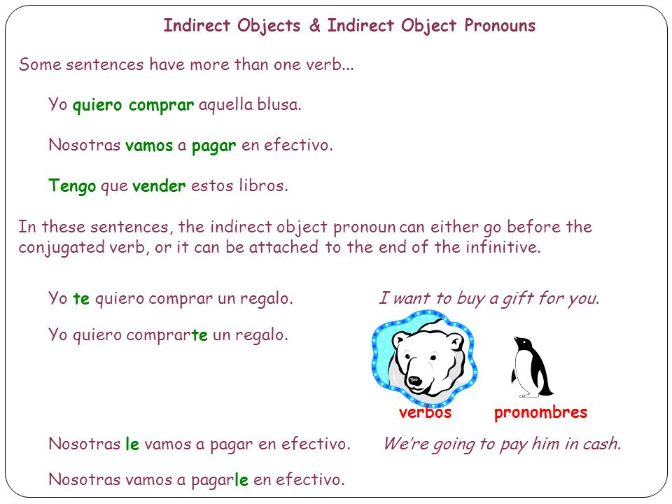Indirect Objects & Indirect Object Pronouns