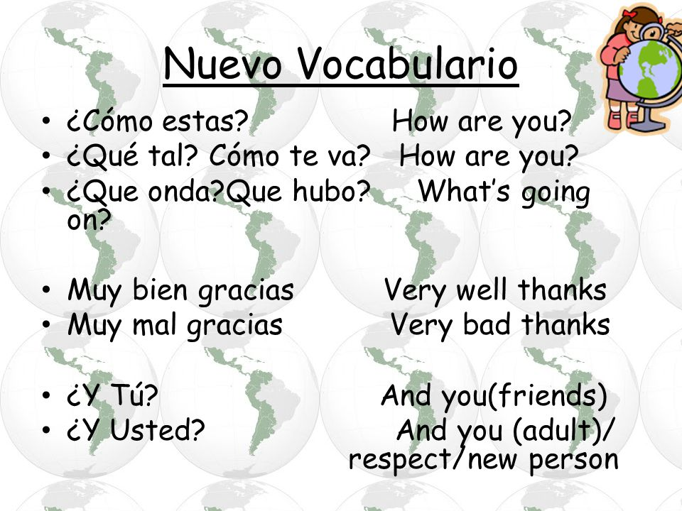 Nuevo Vocabulario ¿Cómo estas How are you