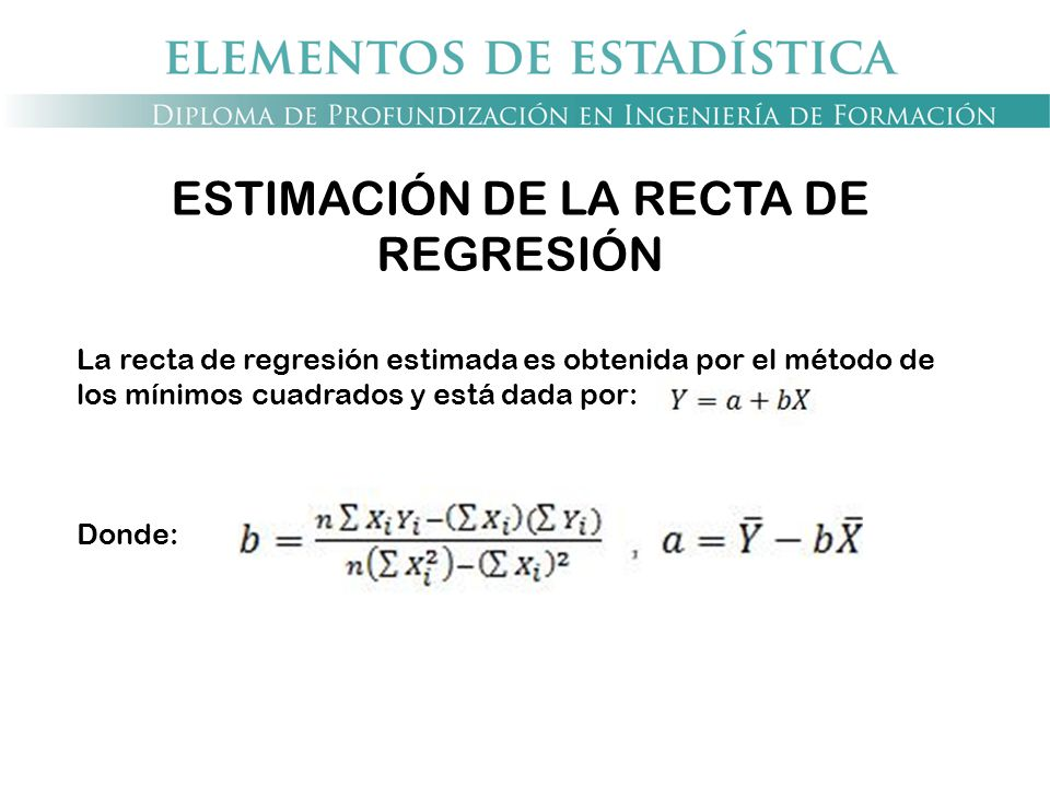 ESTIMACIÓN DE LA RECTA DE REGRESIÓN