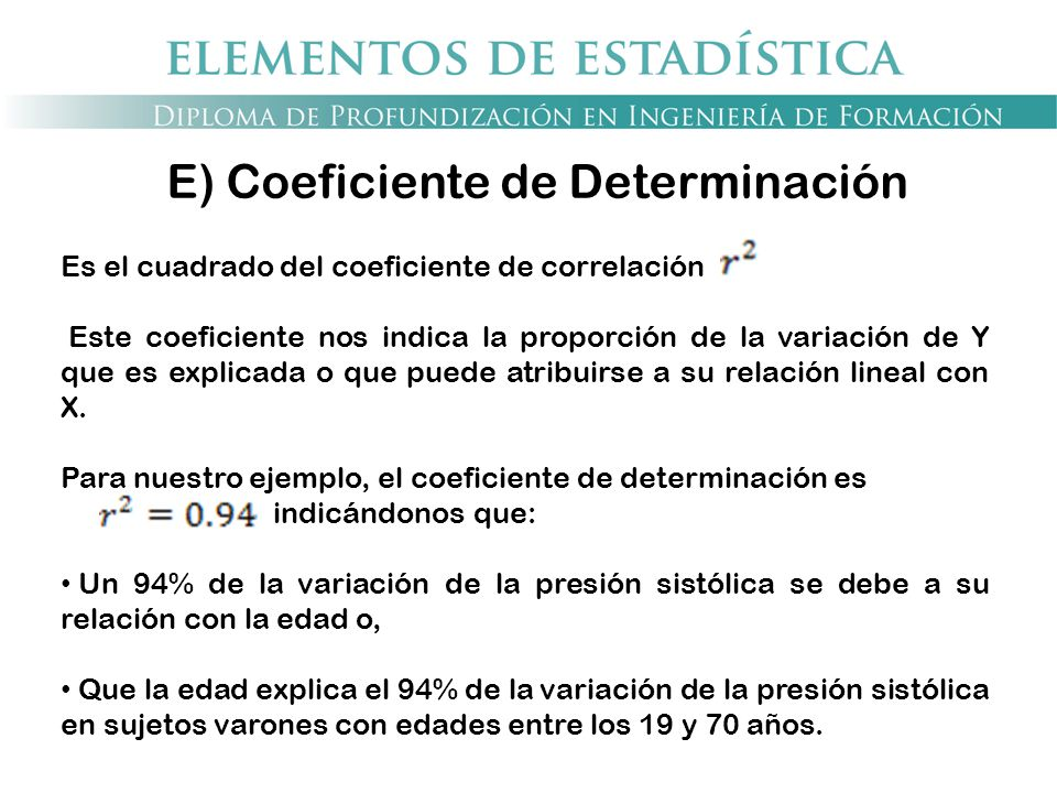 E) Coeficiente de Determinación