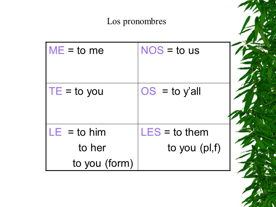 ME = to me NOS = to us TE = to you OS = to y'all LE = to him to her