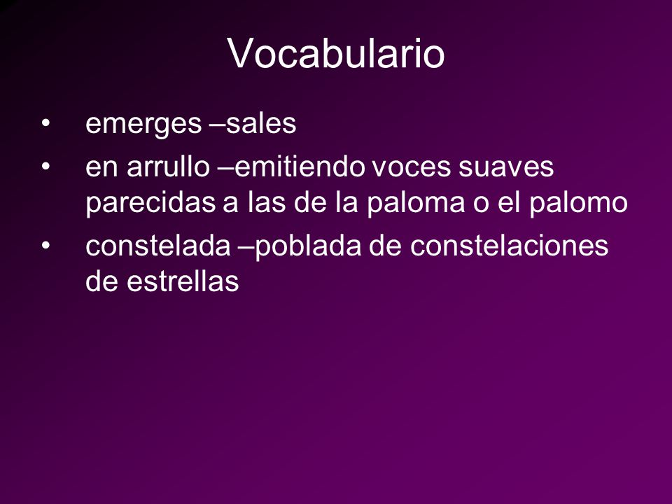 Vocabulario emerges –sales